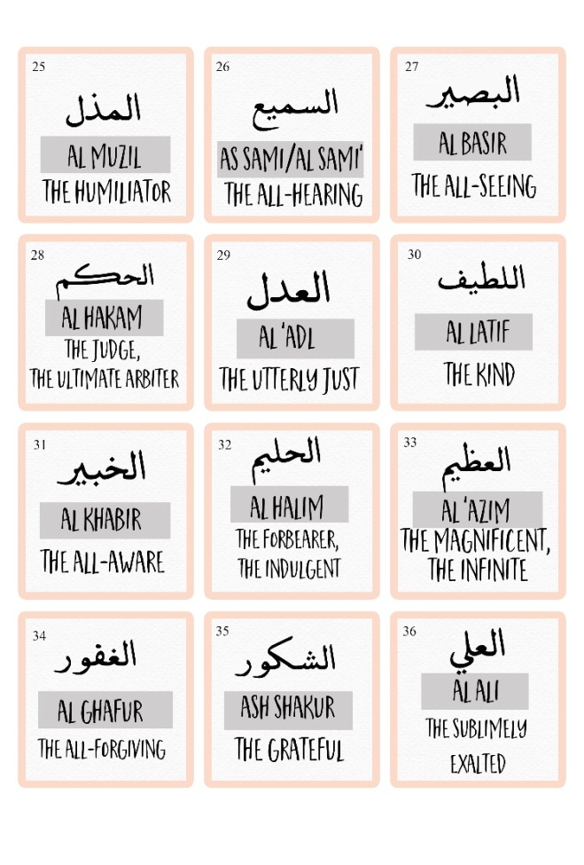 Names of Allah through Noor Kids, Zair Zabr Play, And Quote